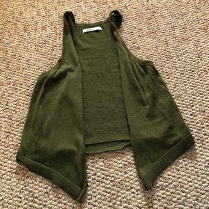 Olive green cropped vest